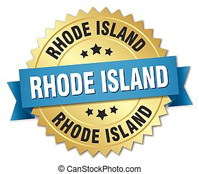 Rhode Island round golden badge with blue ribbon
