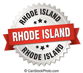 Rhode Island round silver badge with red ribbon
