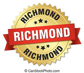 Richmond round golden badge with red ribbon