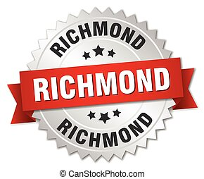 Richmond  round silver badge with red ribbon