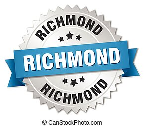 Richmond round silver badge with blue ribbon