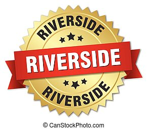 Riverside round golden badge with red ribbon