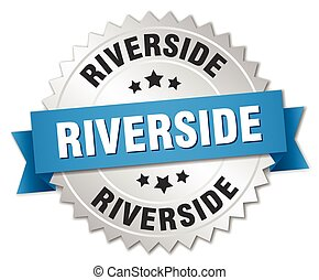 Riverside round silver badge with blue ribbon