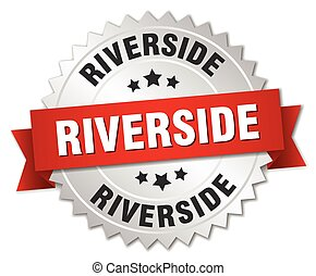 Riverside round silver badge with red ribbon
