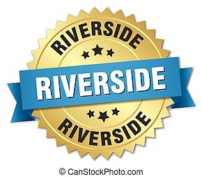 Riverside round golden badge with blue ribbon