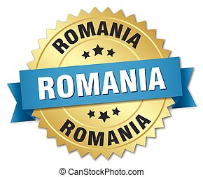Romania round golden badge with blue ribbon