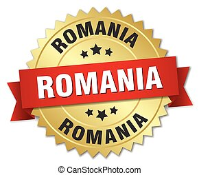Romania round golden badge with red ribbon
