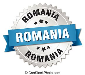 Romania round silver badge with blue ribbon