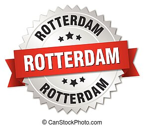 Rotterdam round silver badge with red ribbon - Rotterdam...
