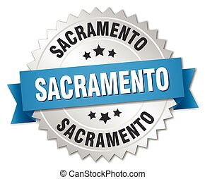Sacramento round silver badge with blue ribbon