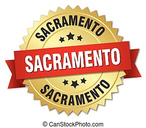 Sacramento round golden badge with red ribbon