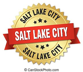 Salt Lake City round golden badge with red ribbon