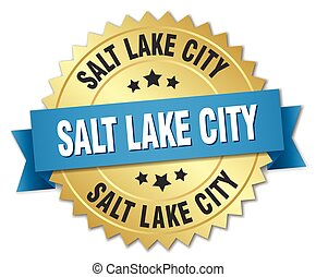 Salt Lake City round golden badge with blue ribbon