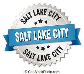 Salt Lake City round silver badge with blue ribbon