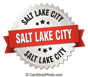 Salt Lake City round silver badge with red ribbon