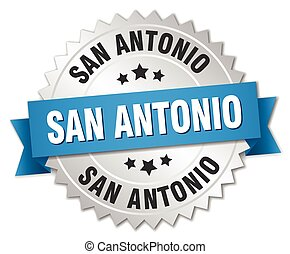 San Antonio round silver badge with blue ribbon