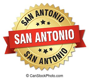 San Antonio round golden badge with red ribbon