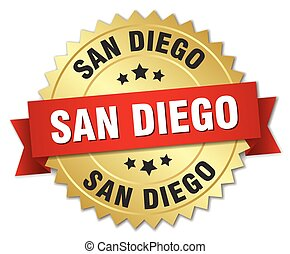 San Diego round golden badge with red ribbon