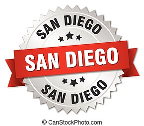 San Diego round silver badge with red ribbon
