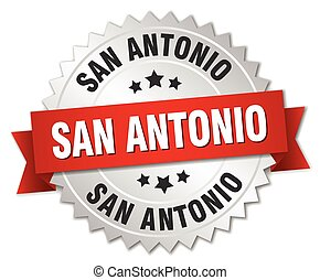 San Antonio round silver badge with red ribbon