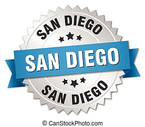 San Diego round silver badge with blue ribbon
