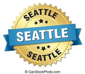 Seattle round golden badge with blue ribbon