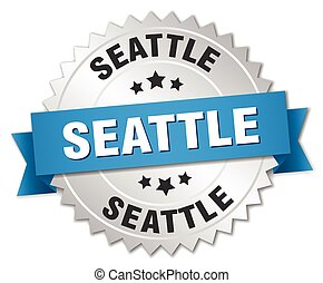 Seattle round silver badge with blue ribbon
