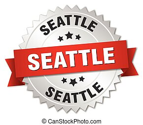 Seattle round silver badge with red ribbon