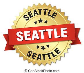 Seattle round golden badge with red ribbon