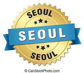 Seoul round golden badge with blue ribbon