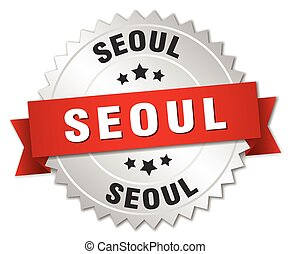 Seoul round silver badge with red ribbon