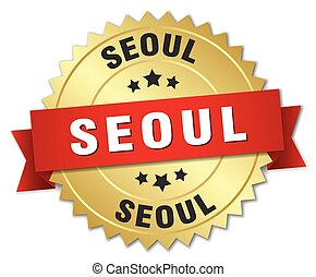Seoul round golden badge with red ribbon