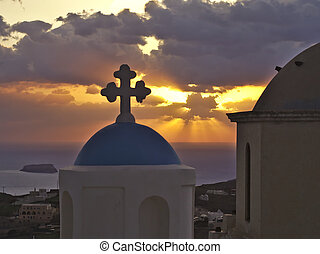 Sunset Church - Santorini sunset with a church