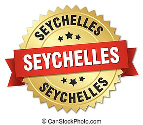 Seychelles round golden badge with red ribbon