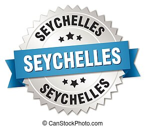 Seychelles round silver badge with blue ribbon