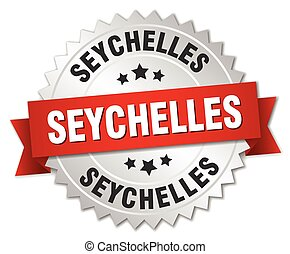 Seychelles round silver badge with red ribbon