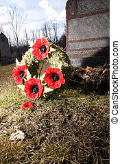 Poppy Flower Wreath - A close view of a poppy wreath at a...