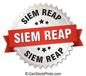Siem Reap round silver badge with red ribbon