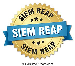 Siem Reap round golden badge with blue ribbon