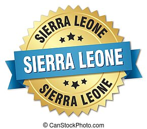 Sierra Leone round golden badge with blue ribbon