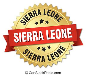 Sierra Leone round golden badge with red ribbon