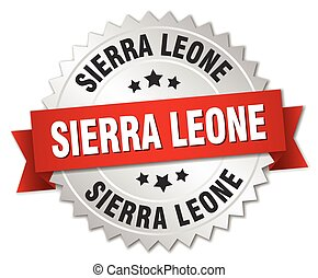 Sierra Leone round silver badge with red ribbon