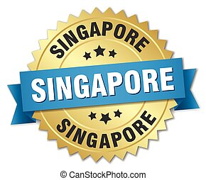 Singapore round golden badge with blue ribbon