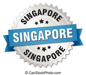 Singapore round silver badge with blue ribbon