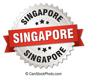 Singapore round silver badge with red ribbon