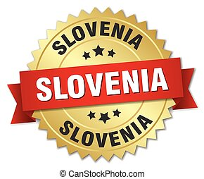 Slovenia round golden badge with red ribbon