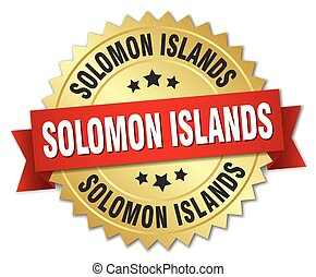 Solomon Islands round golden badge with red ribbon