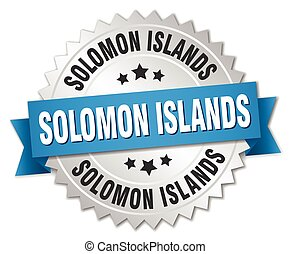 Solomon Islands round silver badge with blue ribbon