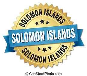 Solomon Islands round golden badge with blue ribbon