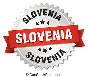 Slovenia round silver badge with red ribbon